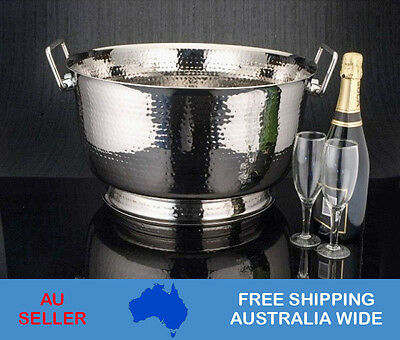 Ice Bucket Stainless Steel Hammered Bowl Champagne Wine Cooler Bucket Container