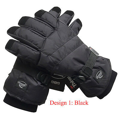 Black Men Waterproof Thinsulate Winter Cold Weather Ski Snowboard Glove S,M,L XL