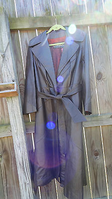 Vintage Leather Jacket Chocolate Brown Trench Coat Full Length Beautiful