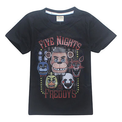 Five nights at Freddy's FNAF Shirt Childrens Kids Boys & Girls BNWT New Black