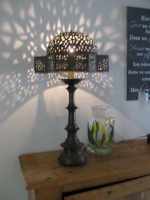 Antique BRASS TABLE LAMP STAND & 19th CENTURY PERSIAN ISLAMIC MOSQUE LAMP SHADE