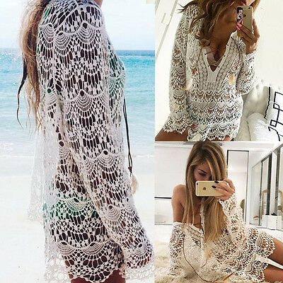 US Women Cover Up Summer Lace Crochet Bikini Swimwear Beach Dress Bathing Suit