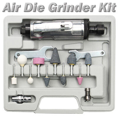 16Pcs 90PSI Air Compressor Die Grinder Rotary Tool Kit With Stones & Case 1/4''