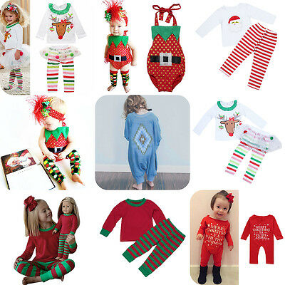 2pcs XMAS Set Kids Baby Boys Girls Outfits T-shirt Tops + Leggings Pants Clothes