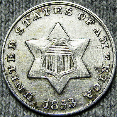 1853 Silver Three Cent Piece 3cp  ---- NICE TYPE COIN ---- #D362