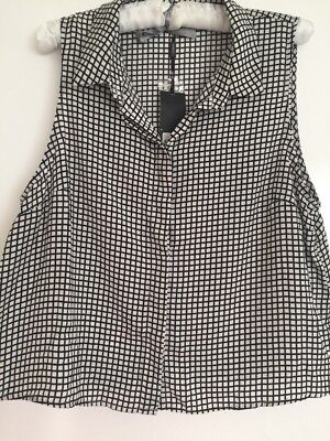 Tokito Size 16 Black And White Checkered Sleeveless Top New With Tags