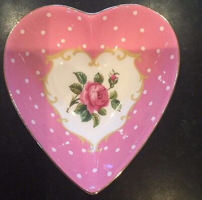 NEW Royal Albert Cheeky Pink Vintage Heart Shaped Dish