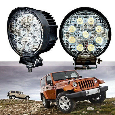 2X 27W Cree Spot Led Work Light Bar Boat Tractor Truck Offroad Fog SUV ATV 12V
