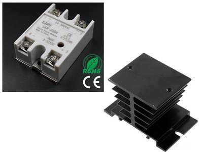 SSR-25DA 25A SSR Solid State Relay with Aluminium Heat Sink Top/Cover (UK STOCK)