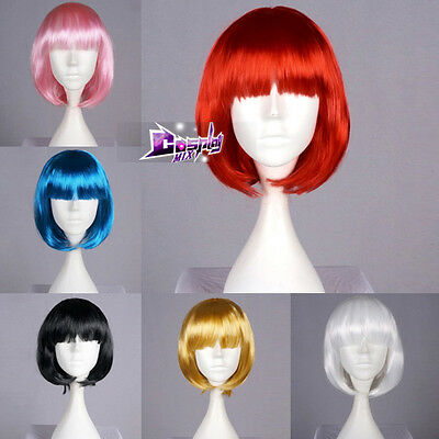 Bob Style 13 Colors 40cm Wavy Anime Cosplay Hair Fancy Dress Costume Party Wig