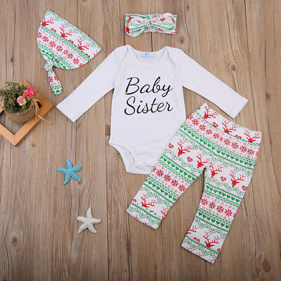 Newborn Toddler Baby Girls Clothes Romper Jumpsuit Bodysuit+Pants Outfits Set C