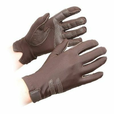 SHIRES KELSALL COMPETITION gloves ADULTS BROWN 874 horse rider grip gloves