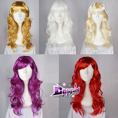 60cm Curly Anime Cosplay Hair Fancy Dress Lady Women Costume Party Wig