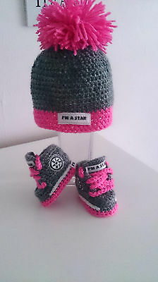 Cute Baby Trainers And Hat/crochet First Shoes/booties/handmade Sneakers