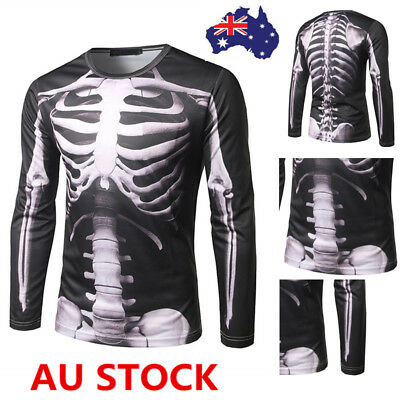 Mens Rib Bones Skeleton Print T-shirt Tops Short Sleeve Halloween Cosplay Tee