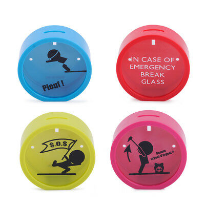 Novelty Savings In Case Of Emergency Coin Safe Round Money Box Piggy Bank Gift