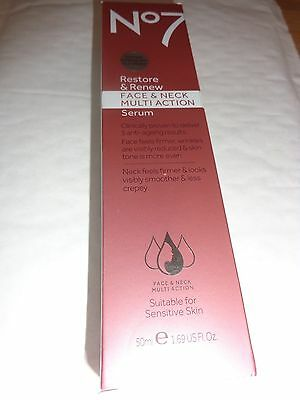 Boots No7 Restore&renew,face&neck Multi Action, Large  Serum, 50Ml,free Uk Pp