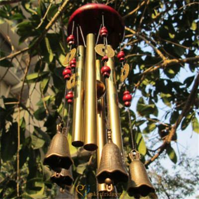 4 Tubes 5 Bells Outdoor Living Wind Chimes Home Copper Garden Yard Decor Amazing
