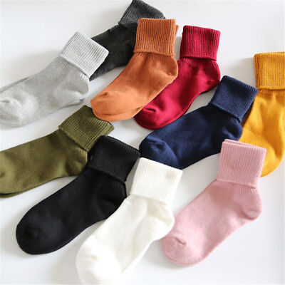 1 pair/lot Women Cotton Blend Knee-High/Turn Cuff Socks Candy Color Loose Socks