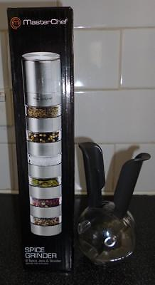 Brand New Masterchef 6 Spice Jars And Grinder + Black Peppermill 1Handed
