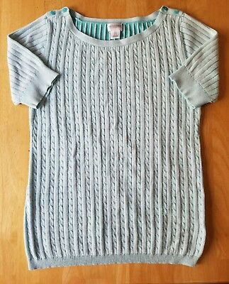 Maternity Sweater, Short Sleeve, Cable Knit, Size Large (L), Motherhood