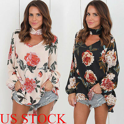 US New Fashion Womens Ladies Casual Long Sleeve T Shirt Summer Loose Tops Blouse