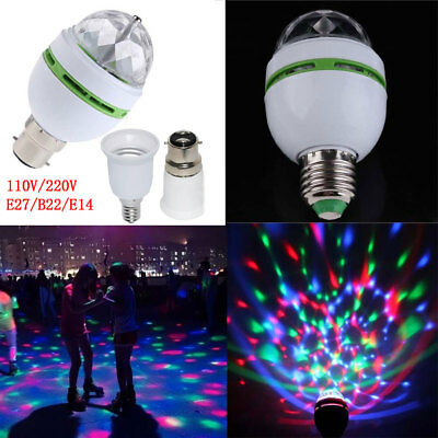 E27 3W Double-Headed LED Ball Stage RGB Light Bulb Rotating Lamp KTV Party Disco