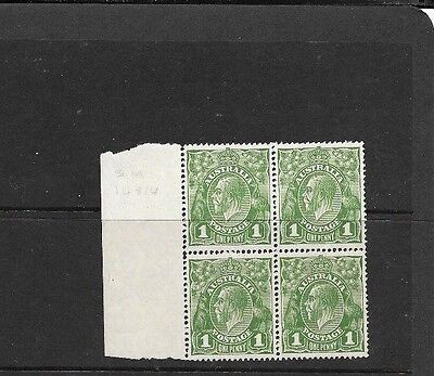 STAMPS AUST KGV  1d GREEN SMALL MULTI PERF 14 BLOCK WITH SECRET MARK VARIETY  [B
