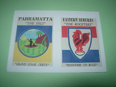 Scanlens 1968 Rugby League Logo/crest Cards Parramatta & The Roosters Postcard