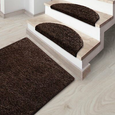 Shaggy Carpet Runner Mat Thick Pile Rug Brown Luxury Soft Hallway Long