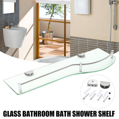 48.5CM GLASS BATHROOM SHOWER SHELF Single Glass Shelf Storage Wall Mounted