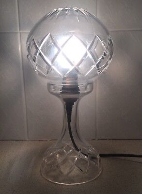Vintage Cut Crystal Lamp - Bedside Table Lamp Mushroom Shabby Chic In Good Order