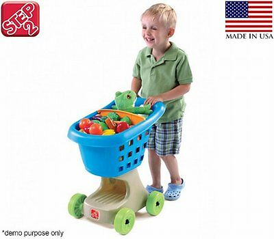 NEW Easy-to-Push Kids Pretend Play Step2 Little Helpers Shopping Cart - Blue
