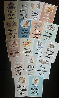 baby milestones and age cards disney characters boys girls