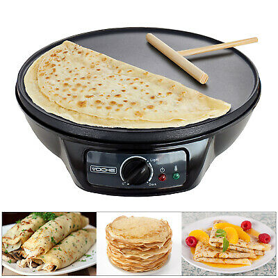 "Voche® 1000W 12"" Electric Pancake & Crepe Maker Non-Stick Plate + Free Utensils"