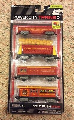 New Power City Trains GOLD RUSH STEAM Set of Four (4) Cars Series 7 Sealed NIB