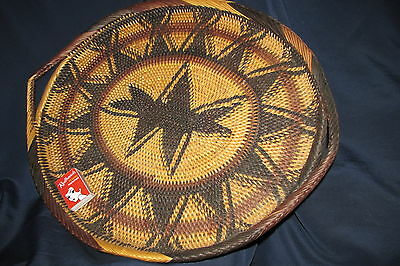 Vintage  Papua New Guinea Buka Tray Plate H/ Woven Native Tribal Highlands 53CmW