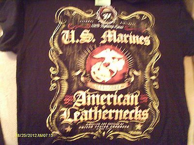 Men's Black U.s. Marines American Leathernecks  T Shirt Size Large