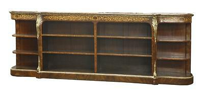 Victorian Figured Walnut and Marquetry Open Bookcase