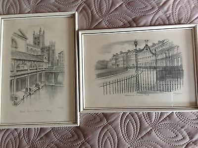 Bath Roman Baths & Abbey and Lansdowne Crescent pencil etchings WH Constantine