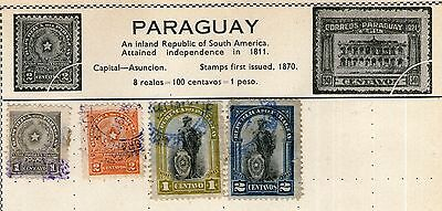 Paraguay Stamp Collection on Old Album Page -  Used