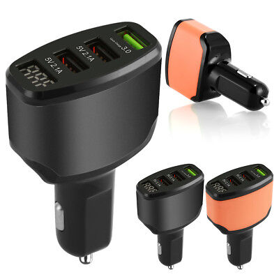 3-Port USB 4.2A Car Charger Adapter LED Display Fast Charging for iPhone Samsung