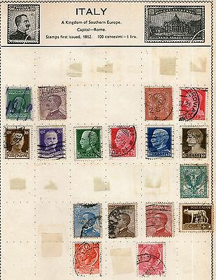 Italy Stamp Collection on Old Album Page -  Used
