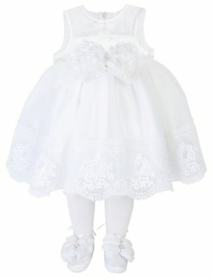 Taffy Baby Girl Christening Baptism Embroidered Dress Gown 6 Pcs Set 0-3 Months