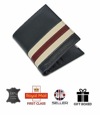 GENUINE Soft Luxury Leather Real Mens wallet ID Card Holder GIFT BOXED BLUE