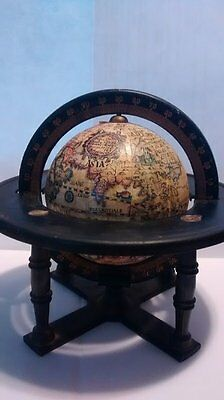 Vintage Replogle 3inch World Globe with Metal stand and Degree Ring,  Desktop