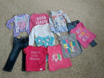Lot of 12 Toddler Girls Clothing Size 2T & 24 months Shirts Jeans Pajamas