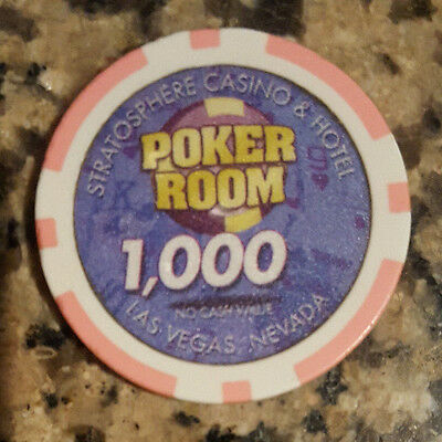 $1,000 Las Vegas Stratosphere Pink Poker Room Tournament Chip NCV VERY RARE LOOK