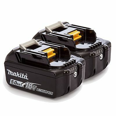 2 Genuine Makita 18V 5.0Ah Li-Ion LXT Batteries BL1850B Autorised Makita Dealer