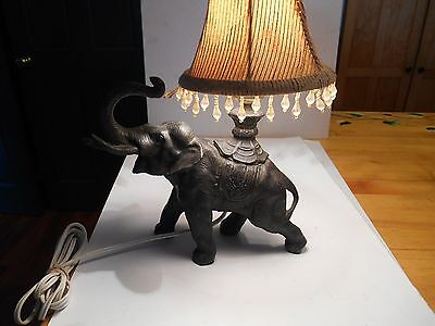 old vintage cast iron elephant boudoir lamp rewired.w/ shade